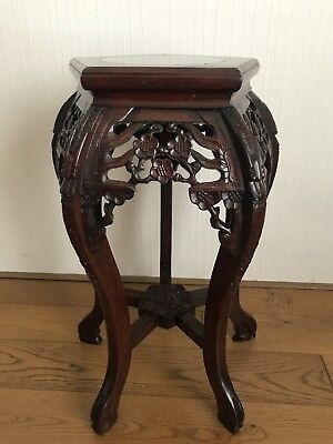 Antique Chinese hand carved rosewood occasion table stand pedestal marble top