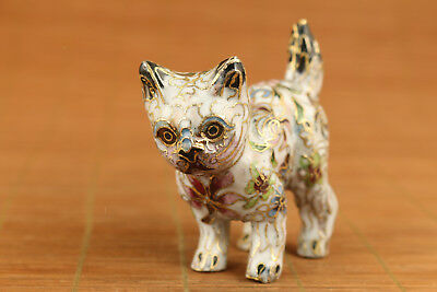 chinese old cloisonne hand carved cat statue collectable ornament