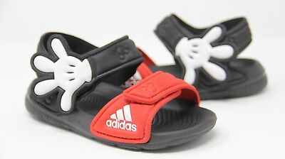 los angeles e8521 92e53 Adidas Disney Mickey Mouse Black Sandals Toddler Baby Size 7K