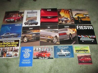 35 1970s-1990s FORD SALES BROCHURE LOT CATALOGS NEW MUSTANG FAIRMONT THUNDERBIRD
