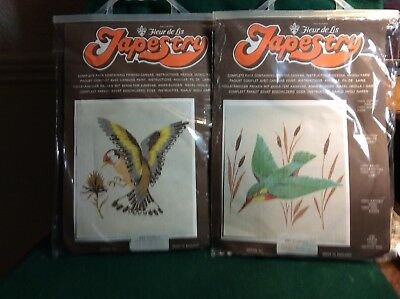 New - but vintage - tapestry kit by Fleur de Lis; Goldfinch ,kingfisher
