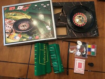5 in 1 Assortment Games ROULETTE, BLACK JACK, CHECKERS, CHESS, BACKGAMMON. N.I.B
