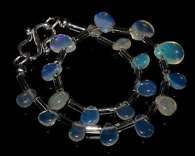 "O-1361 Ethiopian Fire Opal Gemstone Pear Plain Bead 14Ct 4x5-6x9mm 7"" Bracelet $"
