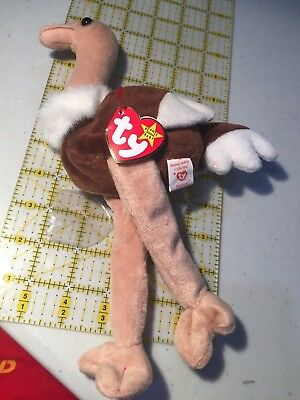 MINT Stretch Ostrich Ty Beanie Babies Baby ST 5th TT 6th PVC China No stamp