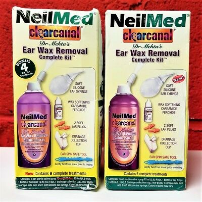 2-PACK NeilMed Clearcanal Earwax Removal Complete Kit + BONUS 4 EXTRA TREATMENTS
