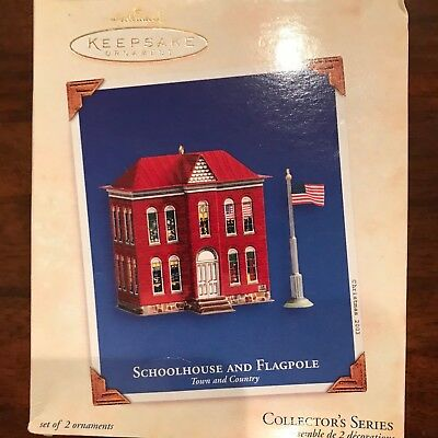 2003 Hallmark Ornament Schoolhouse and Flagpole Series #5 Town  Country Tin