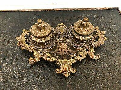 Beautiful Antique Vintage Footed Victorian Bronze Brass Double Ink Wells