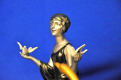 1930 Art Deco Charming Young Girl & Swan & Sculpture Signed Rare Antique