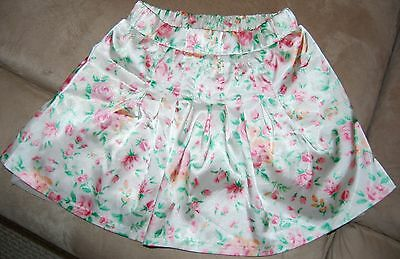 GUESS Little Girls Toddler Size 5 White Satin Pink Floral Skirt Skort BEAUTIFUL!