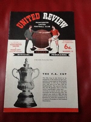 MANCHESTER UNITED v STOKE 1964/65 F.A.CUP 4R REP PROGRAMME BEST / LAW