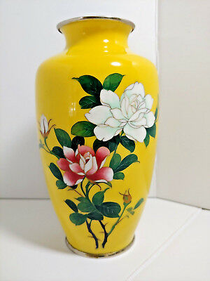 "Sato Japan Cloisonne Vase Yellow w/Flowers/Roses Signed 7""  Japanese Vintage"