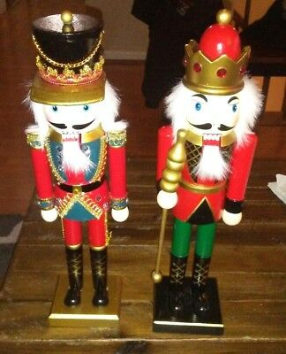 """Lot of 2 Vintage Wooden 15"""" Nutcrackers King & Soldier Christmas Collectors"""