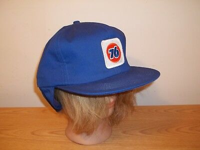 Vtg UNION 76 GAS STATION EMPLOYEE BASEBALL HAT CAT WITH WINTER EAR NECK FLAP