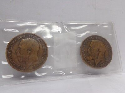 1920 One Cent British Coins - Two Alike