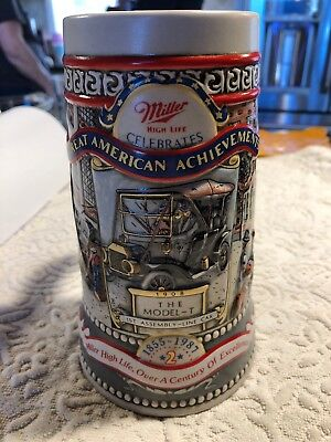 Miller High Life Beer Ceramic Stein #2 Great American Achievements Model-T 1987