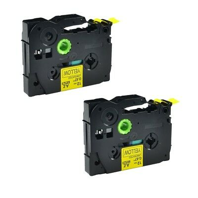 2PK TZ TZe 631 Black on Yellow Label Tape For Brother P-touch PT-1880 1600 1/2""