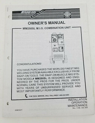 MM250SL MIG Combination Unit Owner's Manual Welding WC5377