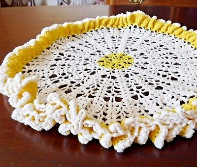 """Lace Doily Table Center Stand Up Round Cotton Crochet 13"""" wide"""