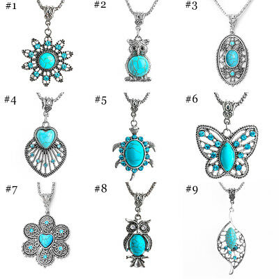 Fashion Jewelry Antique Silver Rhinestone Turquoise Pendant Chain Necklace Gift