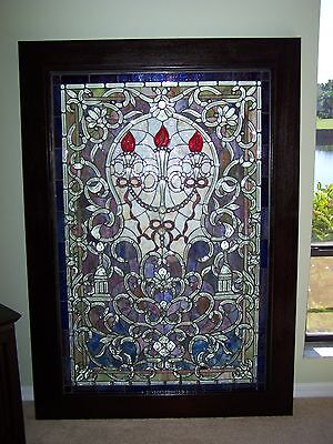 Stained glass multi-color framed art piece-large -REDUCED again