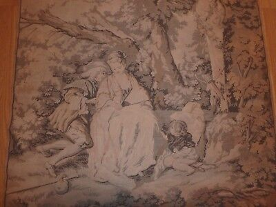 """Vintage French Beautiful Tapestry Wall Hanging 41"""" wide x 53"""" tall & Rod Hanger"""