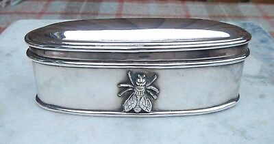 Antique Edwardian Quality Silver Plate Trinket Box ~Bee~Wasp Figural Decoration