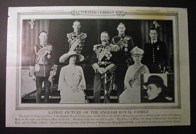 1936 news poster - DEATH of KING GEORGE! Royal Family portrait, new King Edward