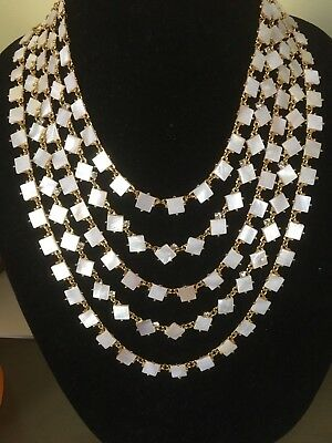 KATE SPADE RARE PEARL COVE 5 STRAND BIB NECKLACE shell MOTHER OF PEARL