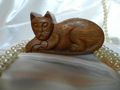 Hand Carved Wood Puzzle Jewelry Box- Cat Shaped