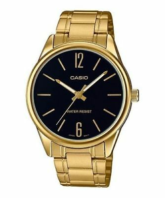 Casio MTP-V005G-1B Men's Standard Analog Gold Tone black Dial Analog Watch