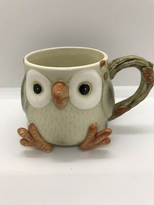 Vintage Fitz & Floyd Spotted Owl Coffee Cup- Hand Painted - Japan