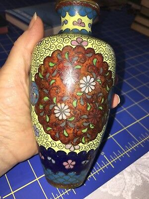 "Antique 19th century Japanese Meiji period cloisonne 6"" Vase Flower Design"