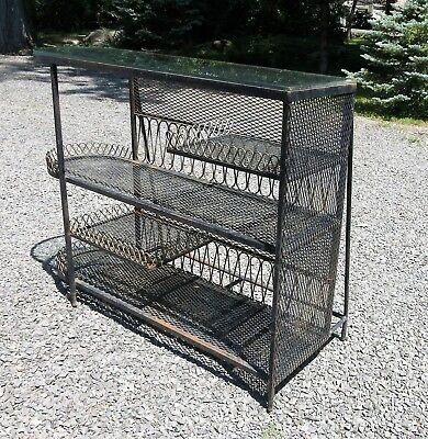 Vintage Wrought Iron and Mesh Bar Style of Salterini