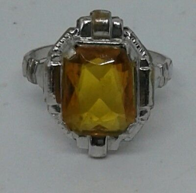 ❤Antique Uncas Art Deco Ring Amber And Sterling Silver Size 5 Gorgeous! Euc!