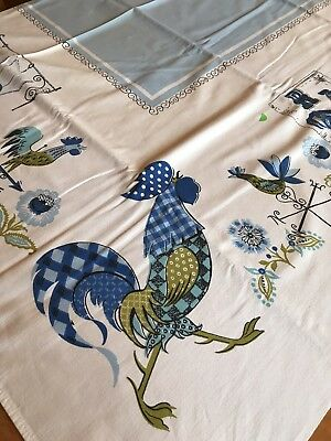 "Vintage Cotton Tablecloth, Roosters, Farm, Blue, White, 64"" x 50"" Rectangle VGC"