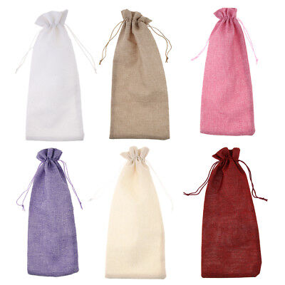 Vintage Jute Hessian Wine Bottle Covers with Drawstring Party Gift Bag Sack