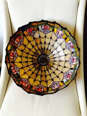 Beautiful Large Lamp Shade Stained Glass Lead Light 43 x 22cm