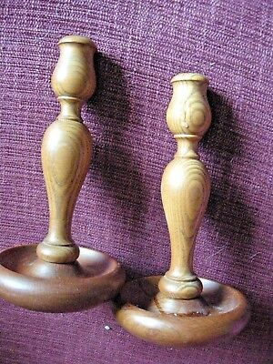 Beautiful Pair Of Wooden Candle Stick Holders Dining Table Mantel