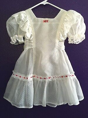 Vintage Girls 6-7 Pinafore Party Dress Handmade Flocked Dotted Swiss Semi Sheer
