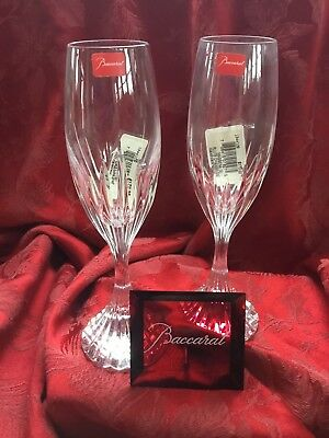 NEW FLAWLESS Stunning BACCARAT France Pair MASSENA Crystal CHAMPAGNE FLUTES WINE