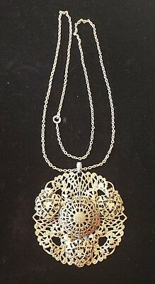 Antique Vintage  Brass Filigree Round Pendant Necklace Unsigned 22 Inch Chain