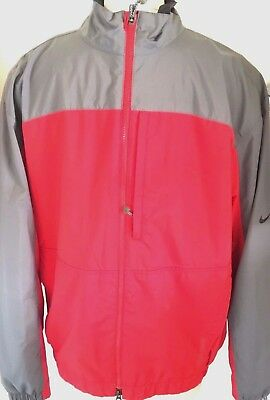 b0814801455a Nike Golf Mens Storm-FIT Red  Gray Full Zip Waterproof Jacket Size M