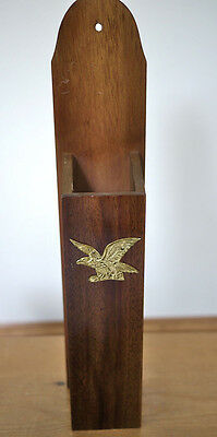 """Vintage Rustic Wall Mount USA Wooden Long Match Holder Box Brass Eagle 14.25"""""""