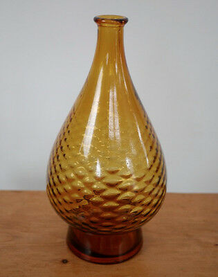 "Vintage 1950s Italian Designer Amber Brown Quilted Art Deco Glass Vase 12"" Italy"