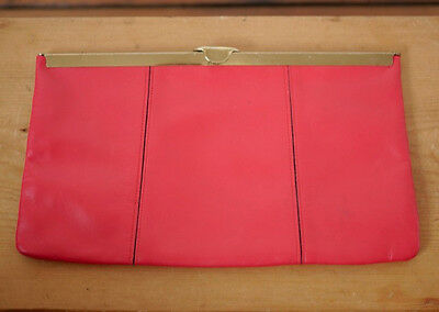 Vintage 50s ETRA Red Leather Grosgrain Lined Brass Clutch Small Purse w/ Chain
