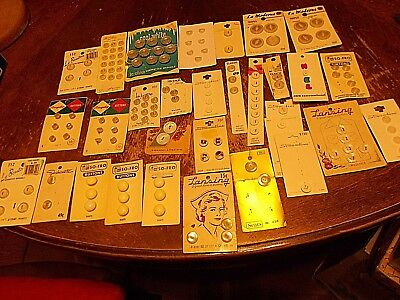 lot of 31 vintage cards of buttons shades of white assorted brands lansing nurse