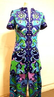 Vintage 1970s Psychedelic Graphic Pucci-esque Trouse Top Tunic Set Dress ITALY