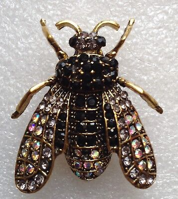 RETRO WINGED INSECT BEETLE BROOCH PIN - Black, Gold Crystals - Brass-tone