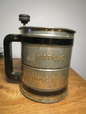 Vintage Antique WATKINS Triple Flour Sifter Black Wooden Handle & Top Crank