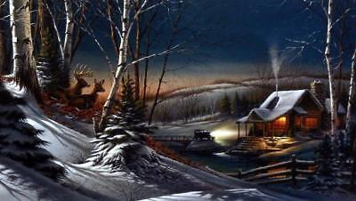Terry Redlin Evening with Friends Deer Cabin Encore Art Print